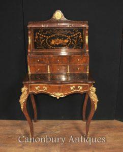 Antigo Império Francês Bonheur Du Jour Escritório Escrita embutimento Desk