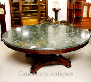 Antique Regency Center Mesa de Jantar Marble Top Mahogany Tables