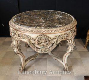 Louis XVI Pintado Redonda Centro de Mesa de Jantar