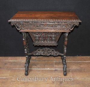 Mão antiga esculpida birmanês mesa escrito mesa 1890 madeira