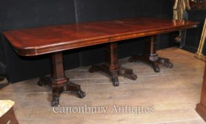 Mesa de jantar Regency Mahogany Triple Pedestal Manner George Bullock
