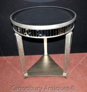 Big Art Deco Espelhado Side Table Cocktail Mesas Mobiliário