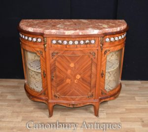 Antique Kingwood French Gabinete Sideboard Porcelana Placas Inlay 1930