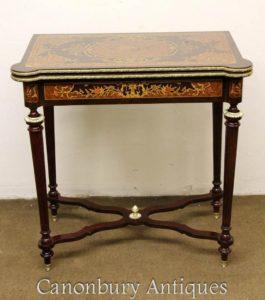 Louis XVI Marquetry Inlay Jogos de Xadrez Mesa Mesas de console laterais