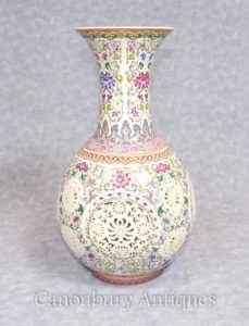 Único Celta Rosa Rose Porcelana Rose Vase Reticulated