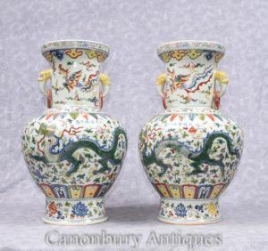 Emparelhar China Qianlong porcelana vasos Dragon Urns Ceramic China