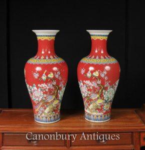 Emparelhar Jaeqing Porcelana Bird Vases Imperial Red