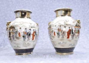 Emparelheiras japonesas de vasos de porcelana Satsuma pintadas à mão