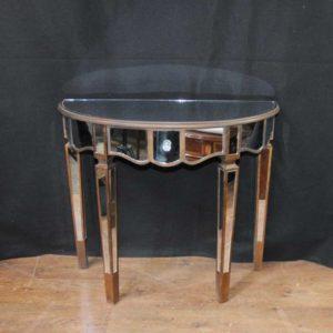 Mesa de console espelhada Tabelas Art Deco Demi Lune
