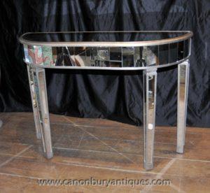 Mesas de console espelhadas Art Deco Mesas de espelho