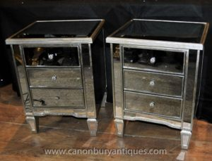 Par Art Deco Mirrored Bedside Chest Gavetas Tabelas Nightstands