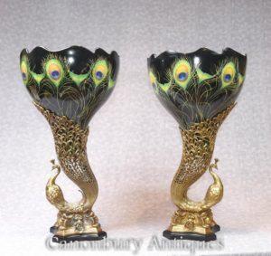 Par Art Nouveau Porcelain Peacock Vases Urnas de pássaro