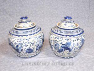 Par Kangxi Ceramic Lidded Urnas Vasos Potes Chinês Porcelana Azul e Branco