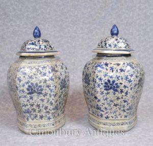 Par chinês Nanking Porcelana Ginger Temple Urnas Jarras Vasos