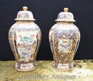 Par grande chinês Qing porcelana templo jarros de gengibre Lidded vasos urnas