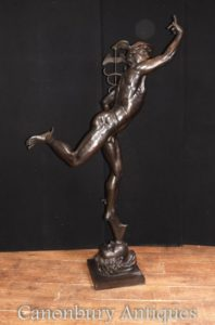 XL Italian Bronze Mercury Statue Casting Hermes by Giambologna