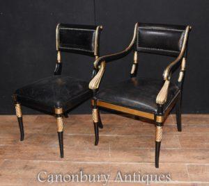 Regency par cadeiras poltrona Assento Laca