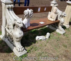 Banco de assento de jardim de pedra de leão voado