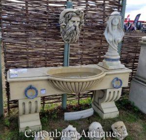 Calha parede cabeça Neptunes da fonte de água de pedra inglês