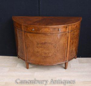 Regency Walnut Cabinet Sideboard Demi Lune Formulário