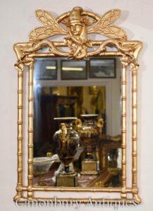 Art Nouveau Gilt Pier Libélula Espelho De Vidro