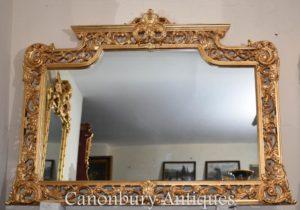 Grande espelho de manto dourado Chippendale inglês
