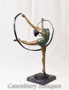 Guilhotina de Bronze Art Deco estatueta dançarina dançarina