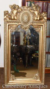 Mirror barroco barroco francês do querubim dourado