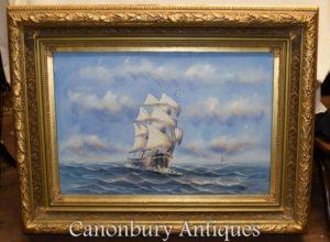 Navio de pintura a óleo inglês Sea Scape Maritime Art