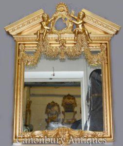 Palladian Inglês Gilt Espelho Pier Querubins Neo Classical