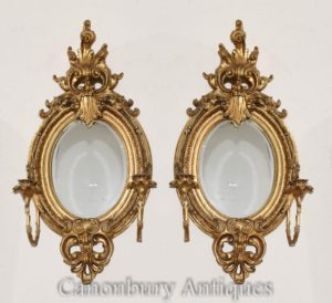 Pares franceses Louis XVI Gilt Girandoles Espelhos Candelabros