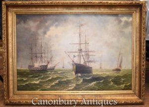 Pintura a óleo marítima Galleons Canal da Mancha Seascape