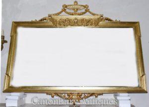 Regency Adams espelho grande manto de Vidro Dourada