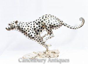 Silver Bronze Executando Cheetah Estátua de Gato Pantera Art Deco
