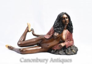 70 Bronze Semi Nua Sexy Lady Figurine Erótica Kitsch