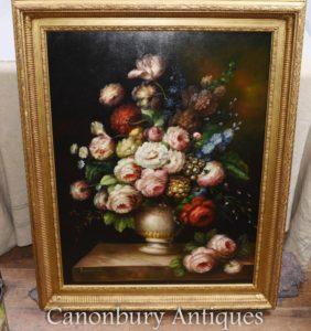 Grande Flor Vitoriana Mostrar Pintura A óleo Da Vida Ainda