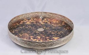 Placa de prata vitoriana, servindo bandeja Faux Tort