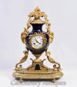 Relógio de Manto Império Francês Ormolu e Porcelain Relógios