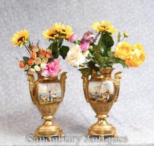 Par Dresden Porcelana Vasos De Ouro Urnas Clássica