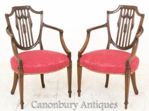 Cadeiras de Braço Hepplewhite - Mogno Antigo Por volta de 1900