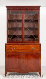 Regency Bookcase Secretaire Desk Antique Mahogany