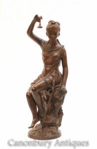 Estátua da Donzela Romana de Bronze Italiano - Estatueta Feminina