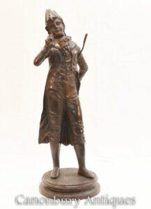 Estátua de Flaneur de Bronze Francês - Estatueta de Dândi
