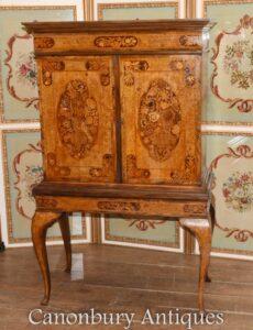 Gabinete de colecionadores de marchetaria holandesa - embutimento antigo Queen Anne Walnut 1860