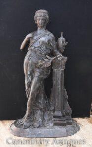 Grande estátua clássica de bronze da donzela - estatueta do jardim romano