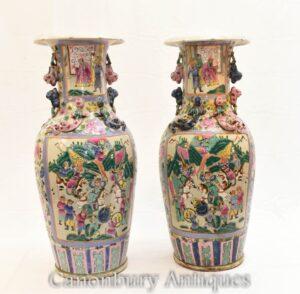Vasos de cantão chinês par - urnas cantonesas