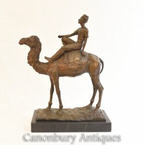 Estátua beduína de bronze do cavaleiro de camelo - fundição francesa