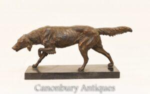 Estátua de cão setter vermelho de bronze - Fundição de animais franceses