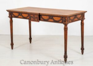 Mesa de console Hepplewhite - Carved Oak Inlay Antique