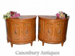 Pair Adams Side Cabinets in Satinwood - Painted Regency Interiors